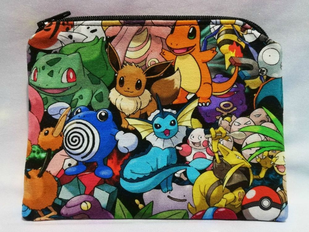 Zip Pouch Made With Pokemon Inspired Fabric - Packed Pokemon