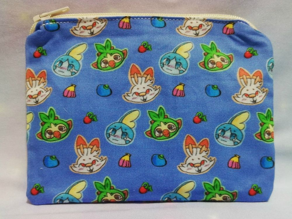 Zip Pouch Made With Pokemon Inspired Fabric - Galar Starters