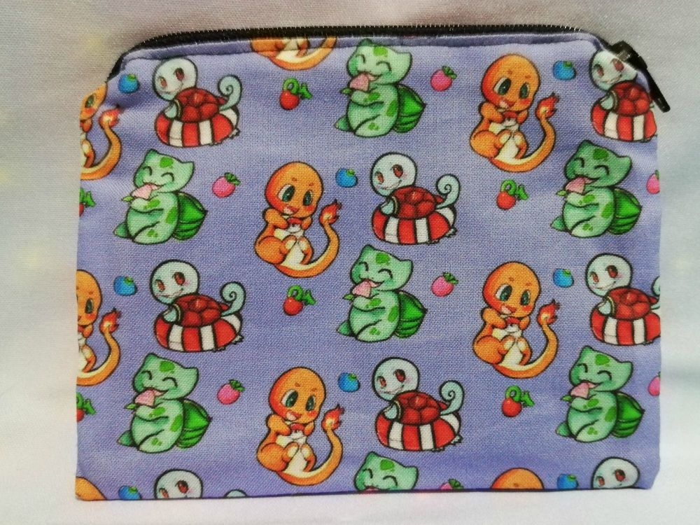 Zip Pouch Made With Pokemon Inspired Fabric - Kanto Starters Exclusive