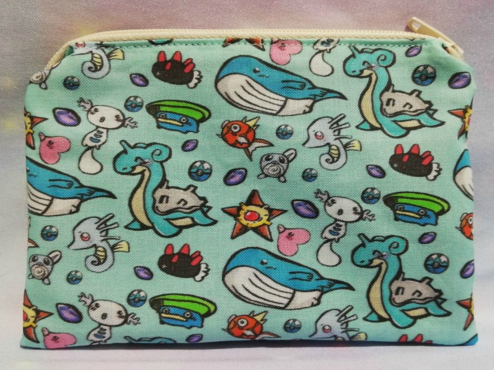 Zip Pouch Made With Water Pokemon Inspired Fabric - Exclusive