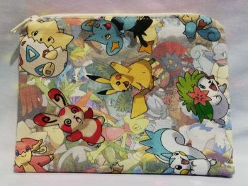 Zip Pouch Made With Pokemon Inspired Fabric - Stand Out Pokemon