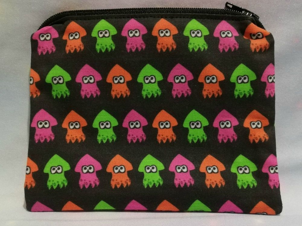 Zip Pouch Made With Splatoon Squids Inspired Fabric - Exclusive