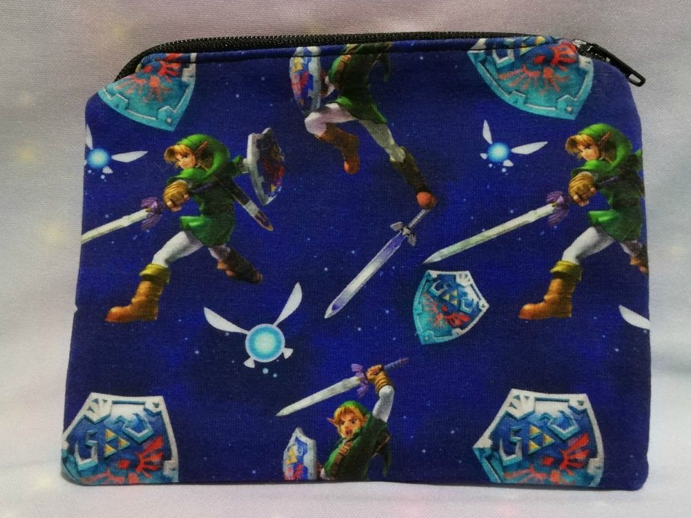 Zip Pouch Made With The Legend Of Zelda Inspired Fabric - Blue
