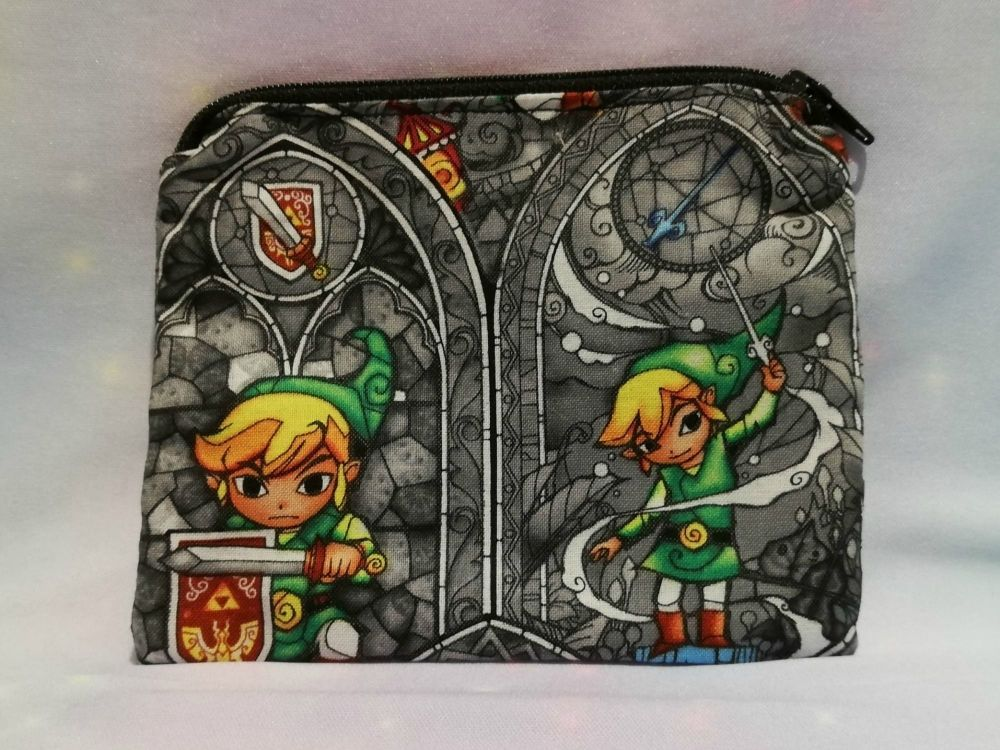 Zip Pouch Made With The Legend Of Zelda Fabric - Grey Stained Glass
