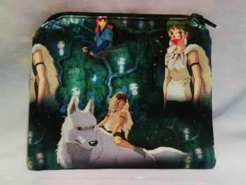 Zip Pouch Made With Princess Mononoke Inspired Fabric