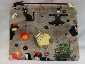 Zip Pouch Made With Studio Ghibli Inspired Fabric