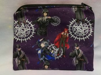 Zip Pouch Made With Black Butler Inspired Fabric - Purple