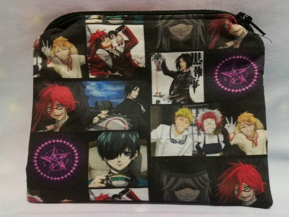 Zip Pouch Made With Black Butler Inspired Fabric