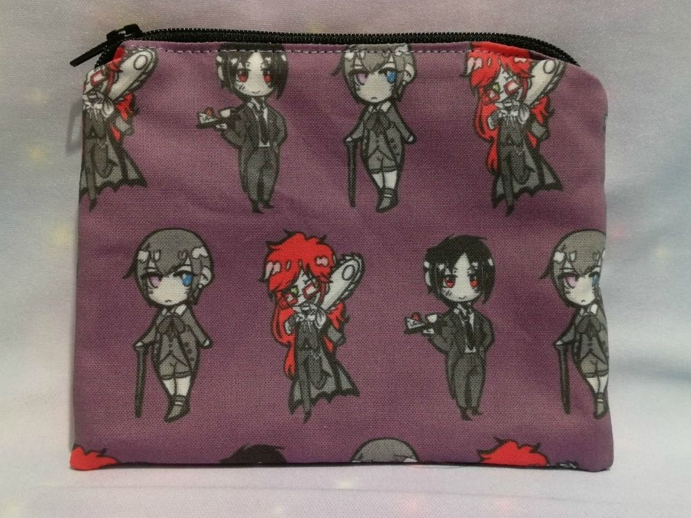 Zip Pouch Made With Black Butler Inspired Fabric - Exclusive