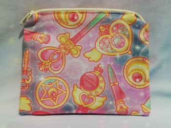 Zip Pouch Made With Sailor Moon Inspired Fabric - Staffs