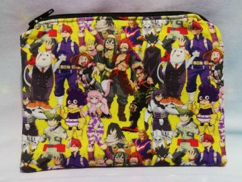 Zip Pouch Made With My Hero Academia Inspired Fabric - Yellow