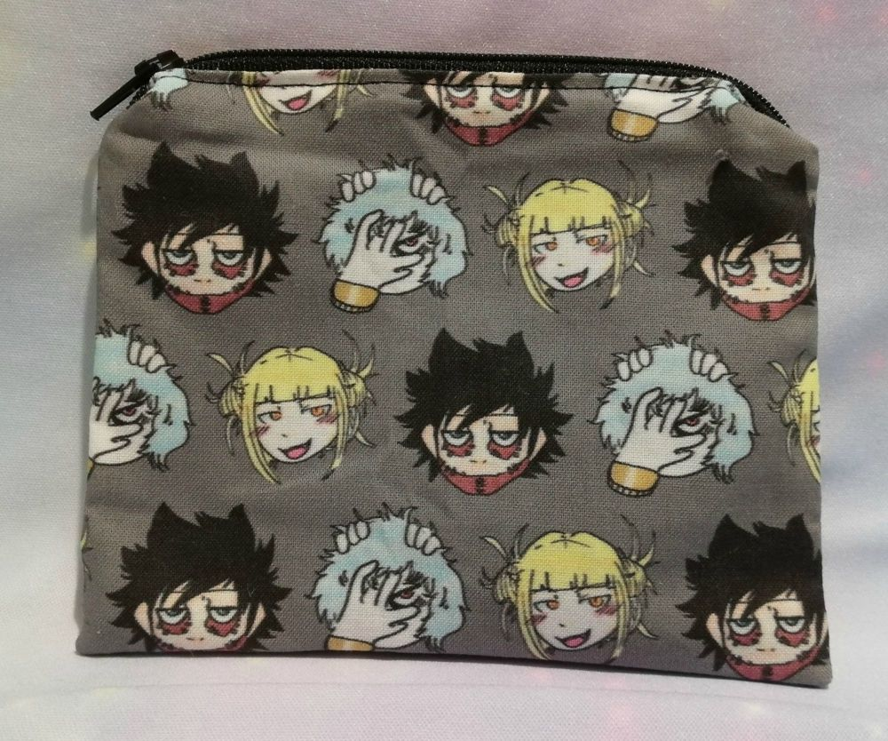 Zip Pouch Made With My Hero Academia Villians Inspired Fabric - Exclusive