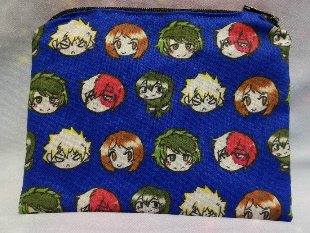 Zip Pouch Made With My Hero Academia Heroes Inspired Fabric - Exclusive