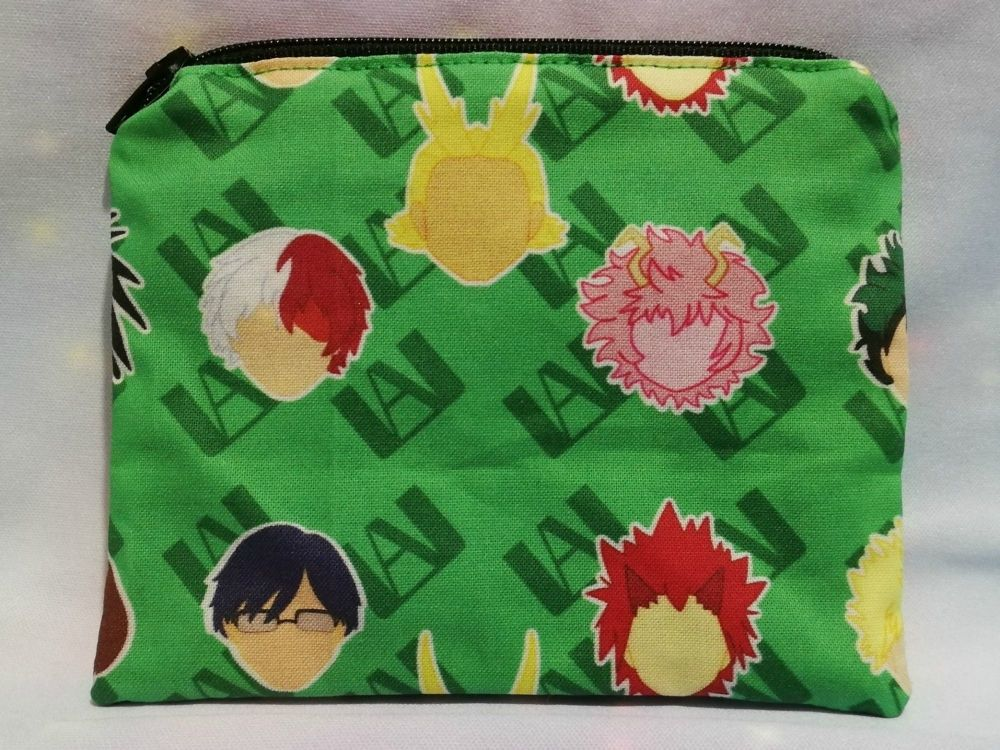Zip Pouch Made With My Hero Academia Inspired Fabric - Green