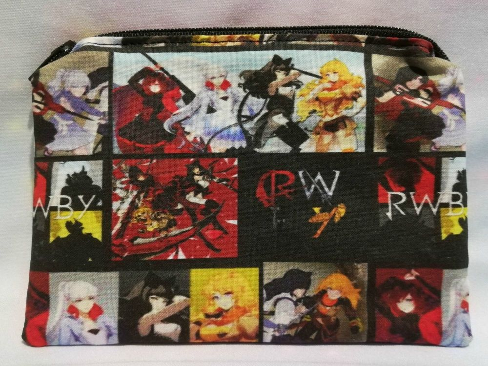 Zip Pouch Made With RWBY Inspired Fabric