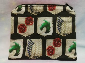 Zip Pouch Made With Large Scale Attack On Titan Inspired Fabric