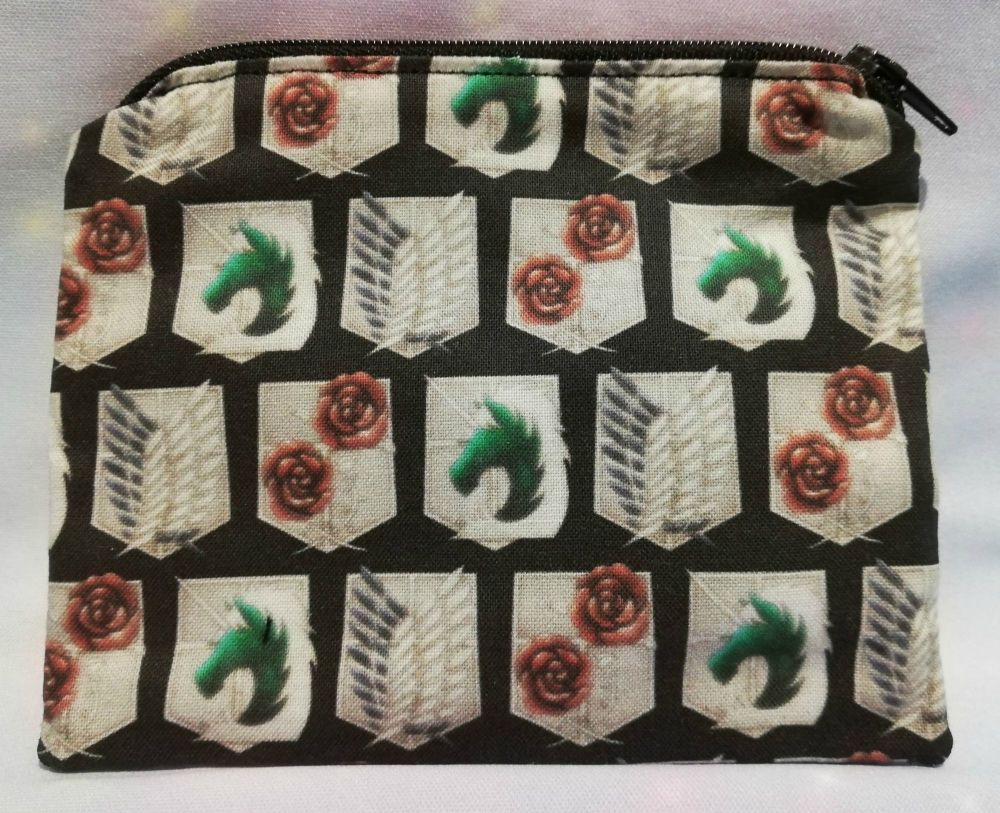 Zip Pouch Made With Small Scale Attack On Titan Inspired Fabric