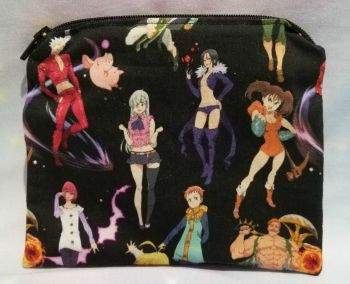 Zip Pouch Made With Seven Deadly Sins Inspired Fabric
