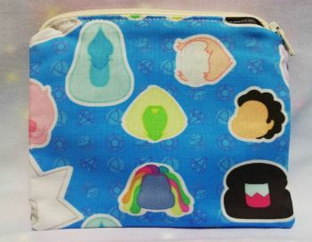 Zip Pouch Made With Stephen Universe Inspired Fabric - Faces