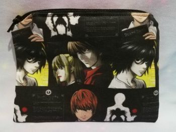 Zip Pouch Made With Large Scale Death Note Inspired Fabric