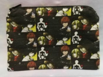 Zip Pouch Made With Small Scale Death Note Inspired Fabric