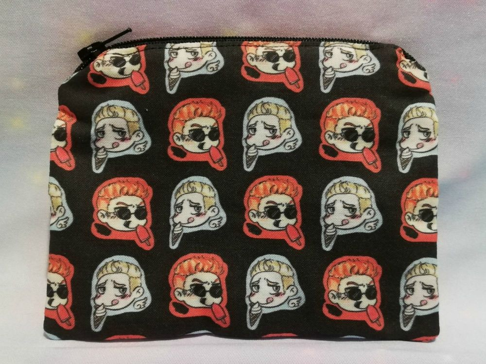 Zip Pouch Made With Good Omens Inspired Fabric
