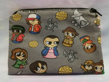 Zip Pouch Made With Stranger Things Inspired Fabric