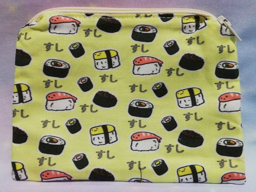 Zip Pouch Made With Sushi Fabric - Exclusive
