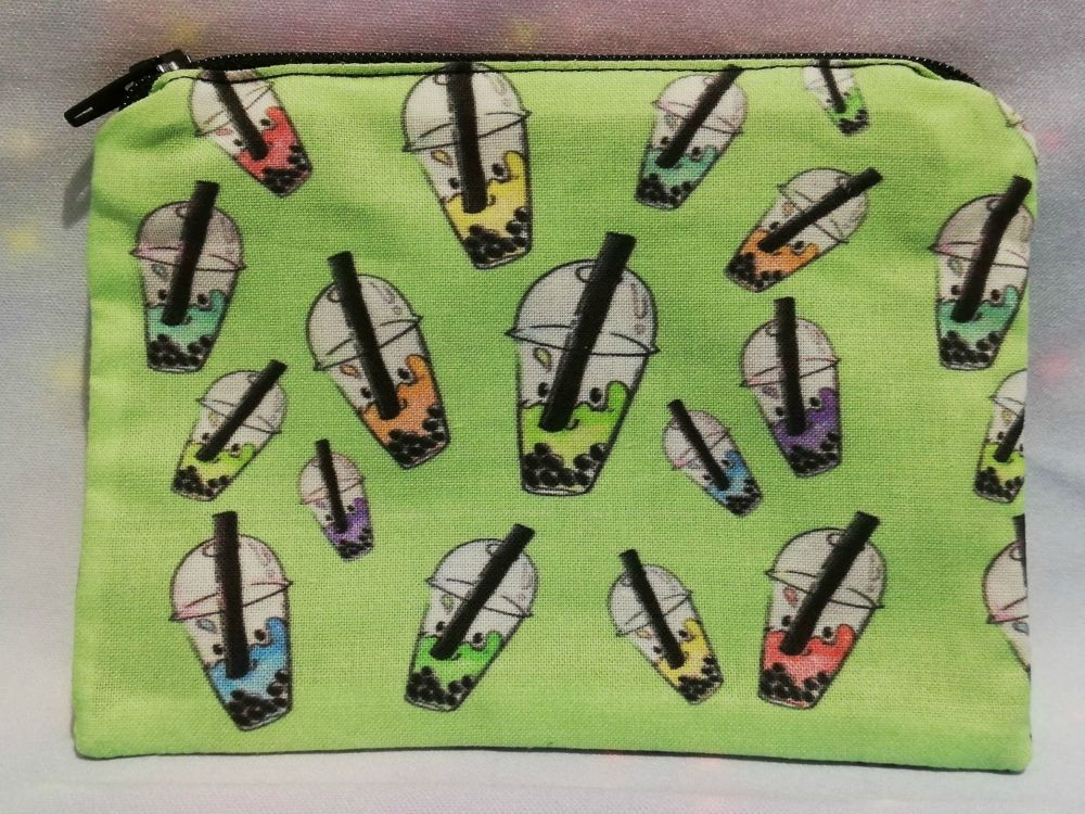 Zip Pouch Made With Bubble Tea Fabric