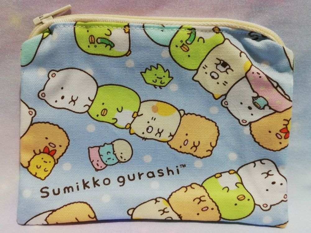 Zip Pouch Made With Summikko Gurashi Fabric - Blue