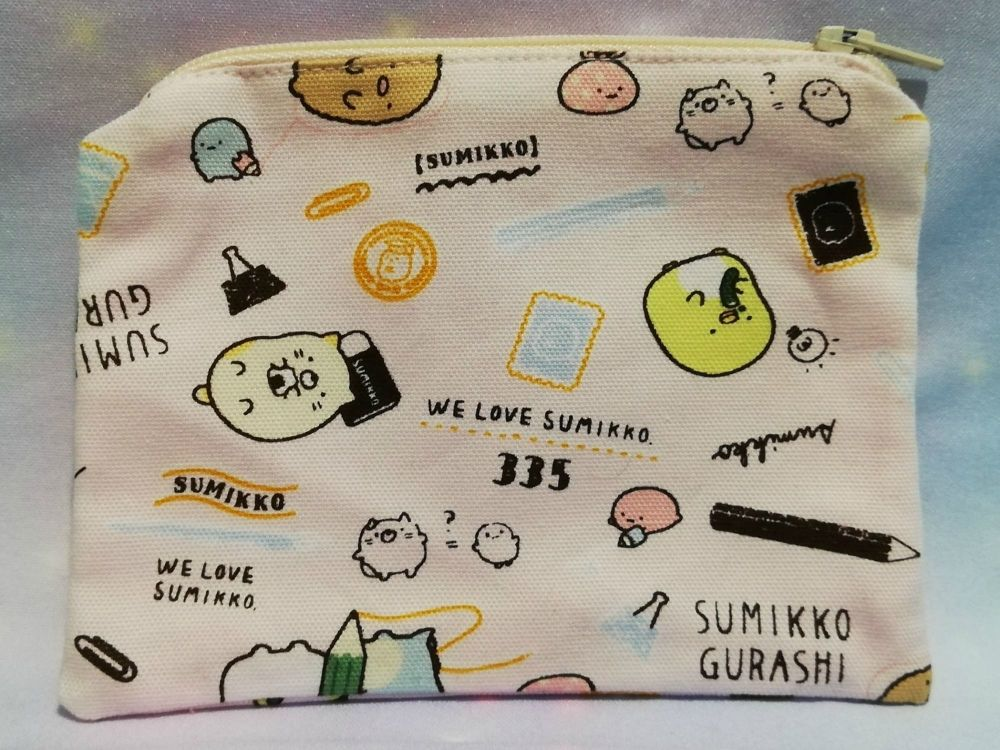 Zip Pouch Made With Summikko Gurashi Fabric - Pink