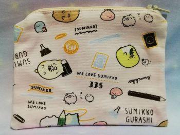 Zip Pouch Made With Summikko Gurashi Fabric - Pink