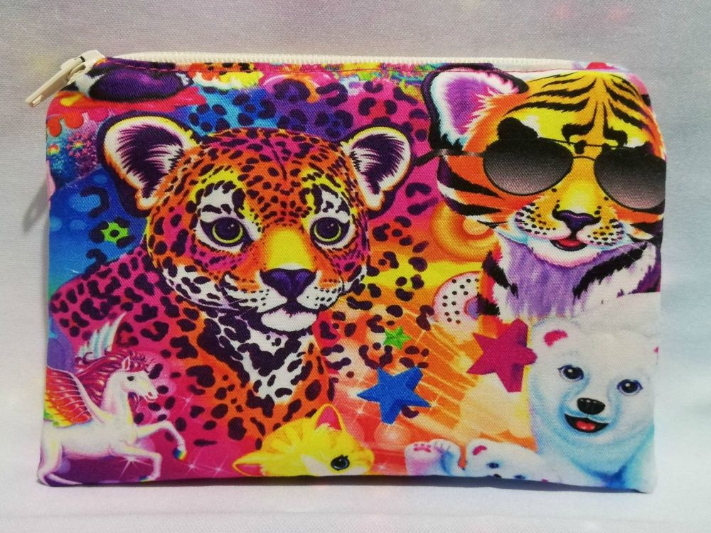 Zip Pouch Made With Lisa Frank Inspired Fabric