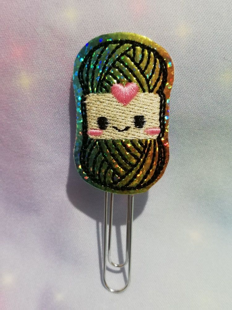 Rainbow Vinyl kawaii Wool / Yarn Feltie Planner Clip Or Charm