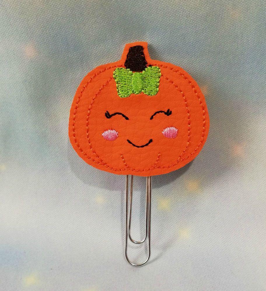 Kawaii Pumpkin Vinyl Feltie Planner Clip Or Charm