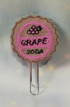 Grape Soda Bottle Cap Vinyl Feltie Planner Clip or Charm