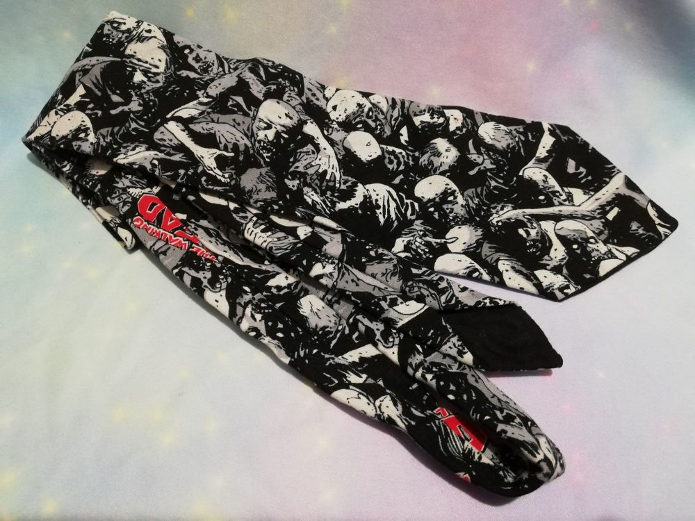 Neck Tie Made With Walking Dead Zombie Fabric