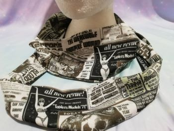 Infinity Scarf Made With Horror Newsprint Fabric
