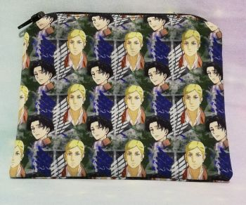 Zip Pouch Made With Attack On Titan Inspired Fabric