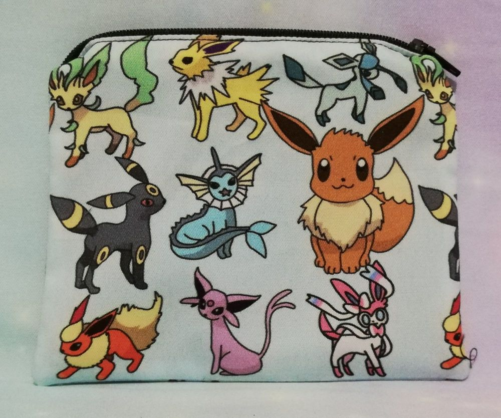 Zip Pouch Made With Eevee Evolutions Inspired Fabric - Blue