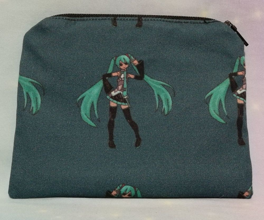 Zip Pouch Made With Hatsune Miku inspired Fabric