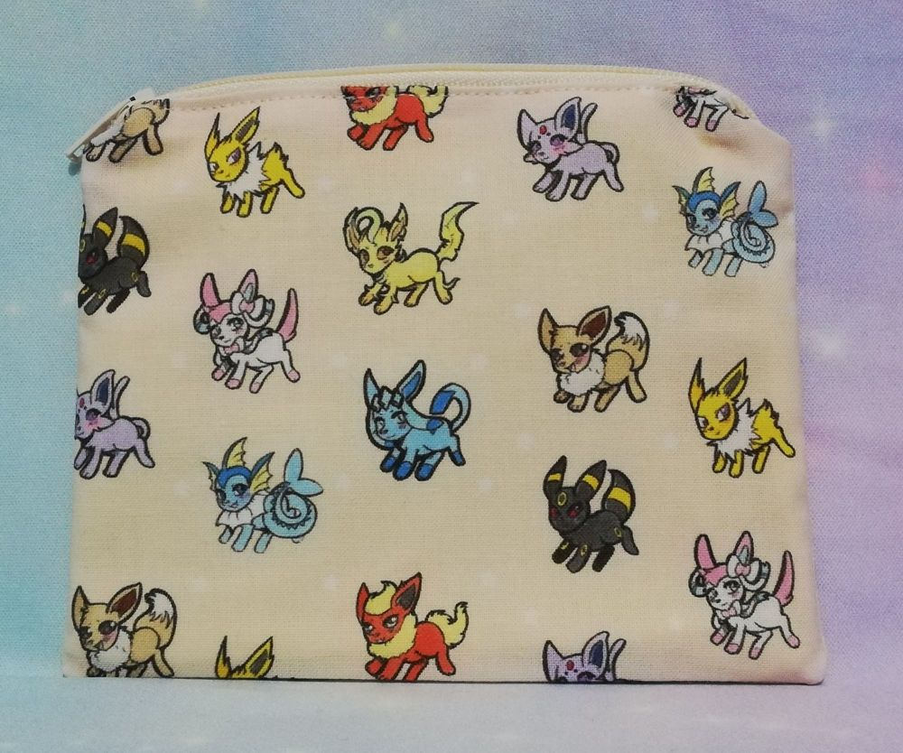 Zip Pouch Made With Eevee Evolutions Inspired Fabric - Exclusive