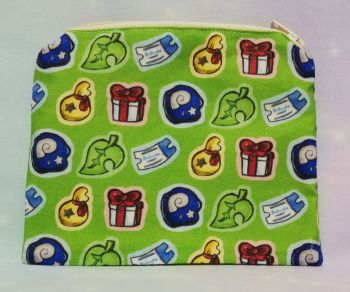 Zip Pouch Made With Animal Crossing Inspired Fabric - Items