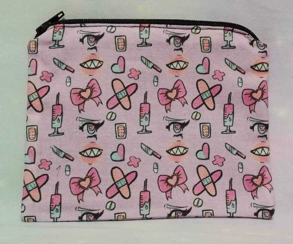 Zip Pouch Made With Pastel Stitches Fabric - Exclusive