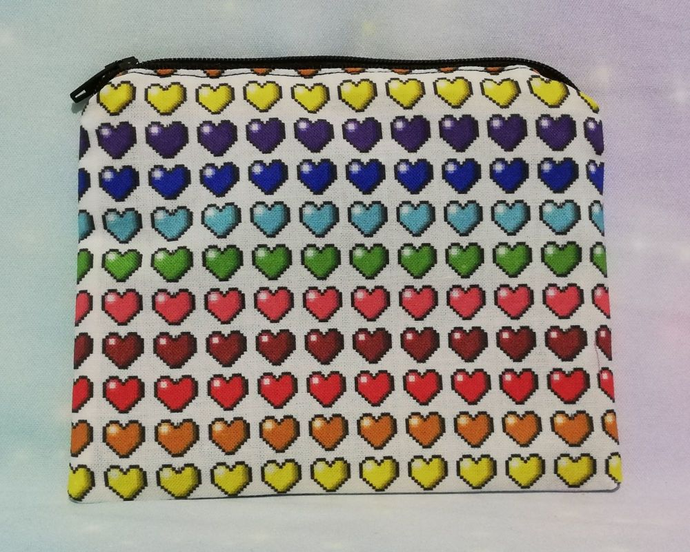 Zip Pouch Made With Rainbow Pixel Hearts Fabric