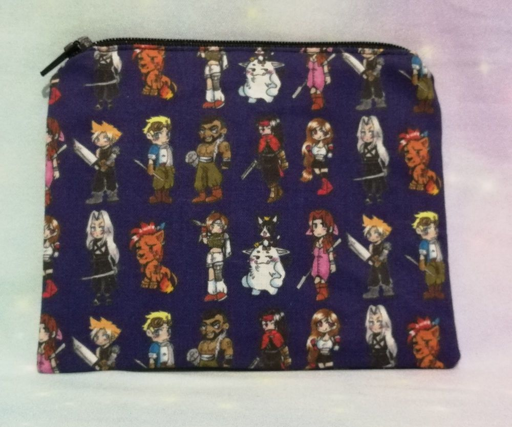 Zip Pouch Made With Final Fantasy VII Inspired Fabric - Exclusive