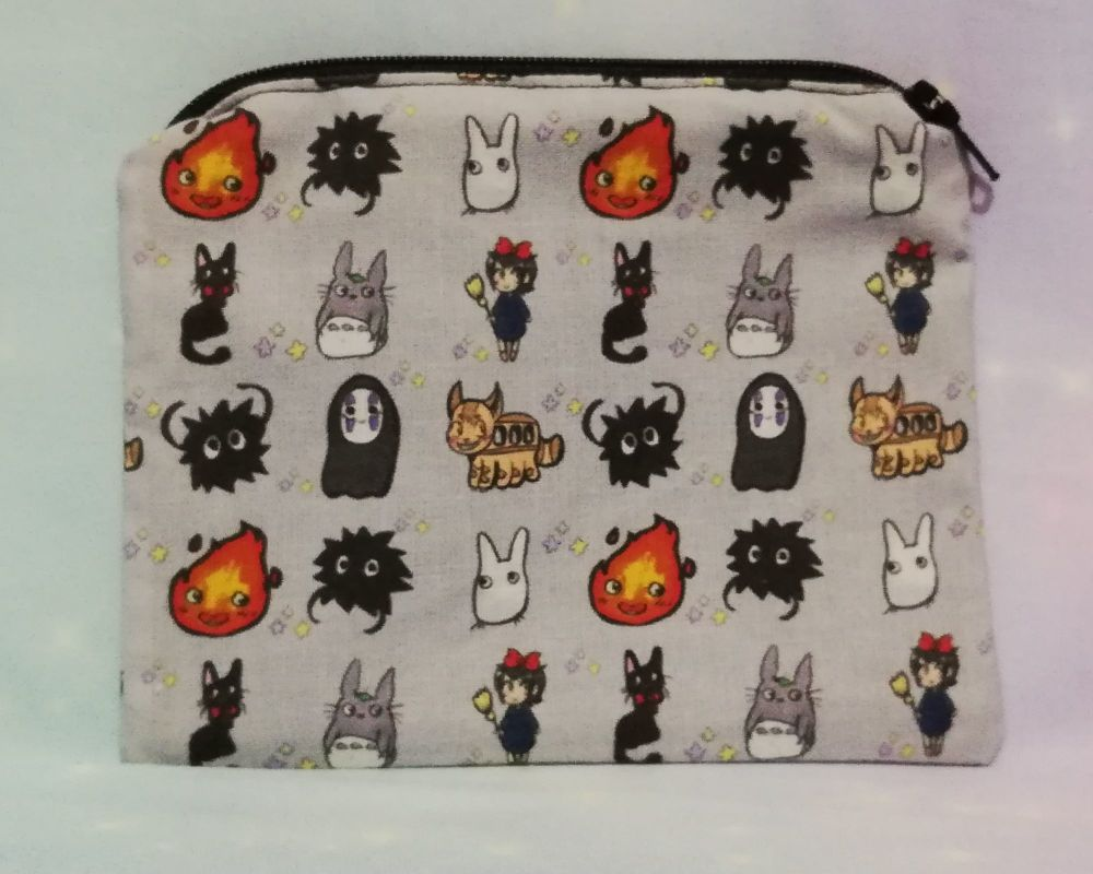 Zip Pouch Made With Studio Ghibli Inspired Fabric - Exclusive