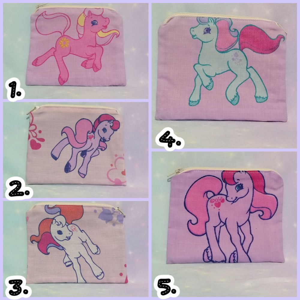 Zip Pouches Made With My little Pony Fabrics - Vintage Gen 2