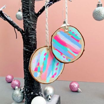 Set of Four Neon Sorbet Hand Painted Decorations
