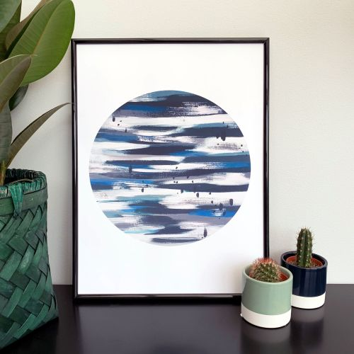'Blue Moon' Abstract Print